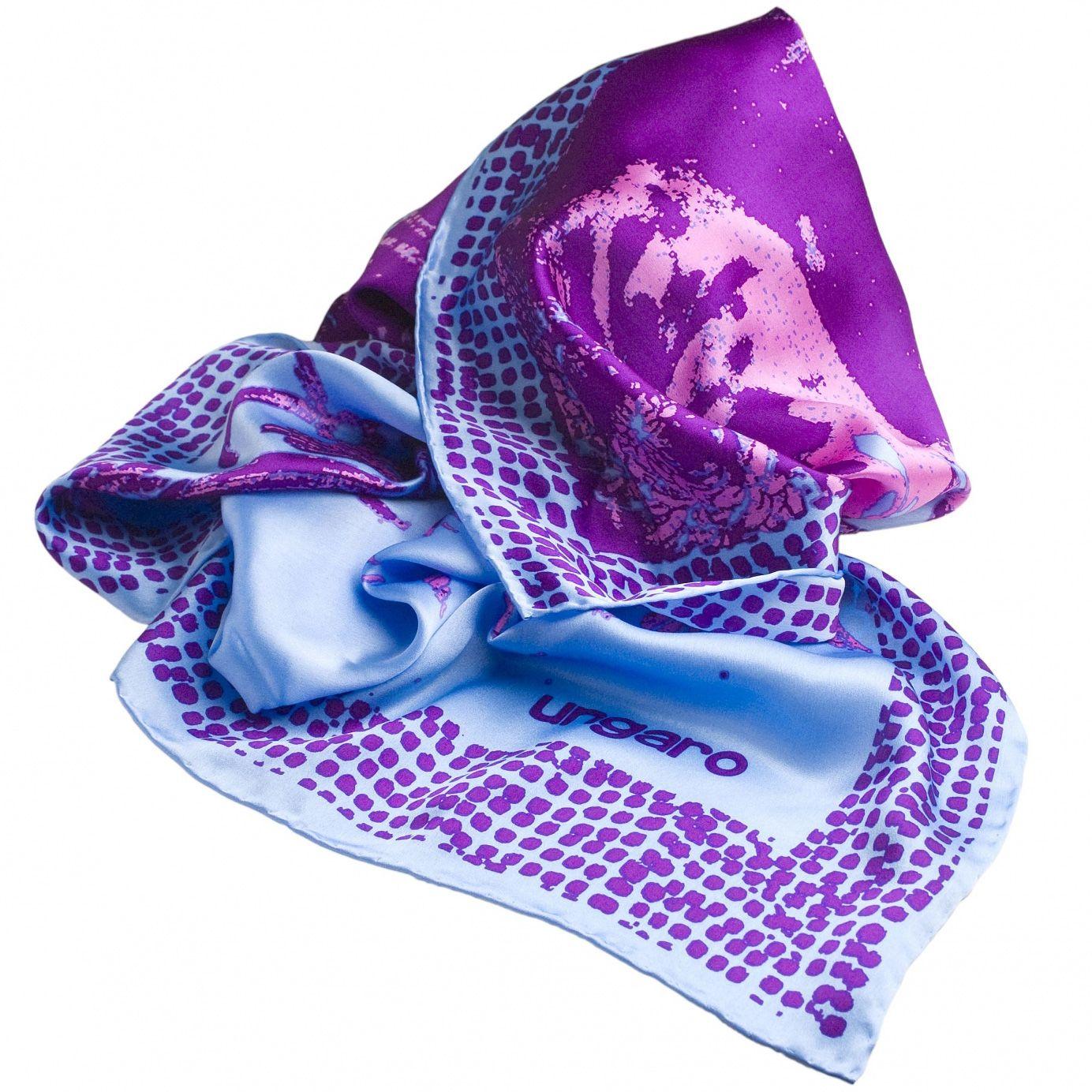 Платок Ungaro «Bergame» шелковый в пурпурных и голубых тонах