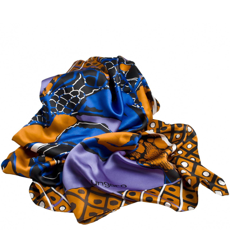 Платок Ungaro «Rosa» шелковый в приятных оранжевых и синих тонах