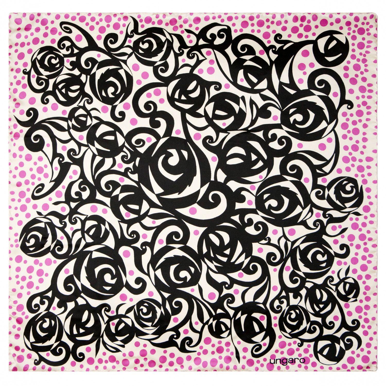 Платок Ungaro «Faenza» шелковый с принтом в виде стилизованного куста роз