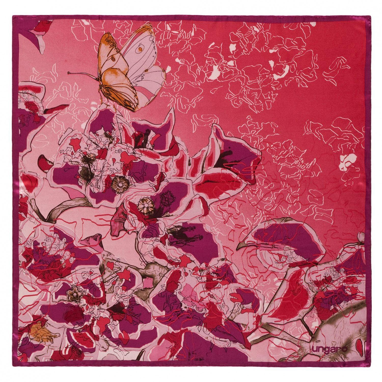 Платок Ungaro «Casoria» шелковый малиново-красный с бабочкой и цветами