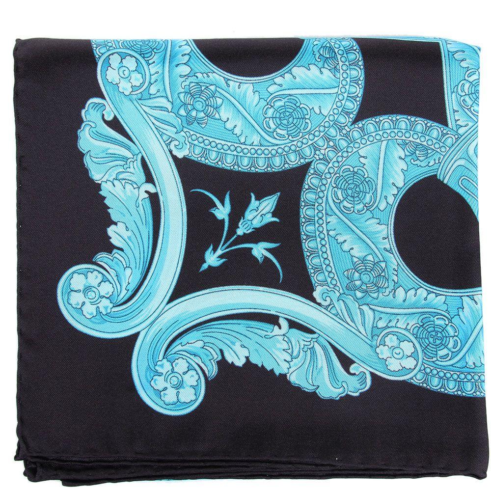 Шелковый платок Versace с черно-голубыми узорами