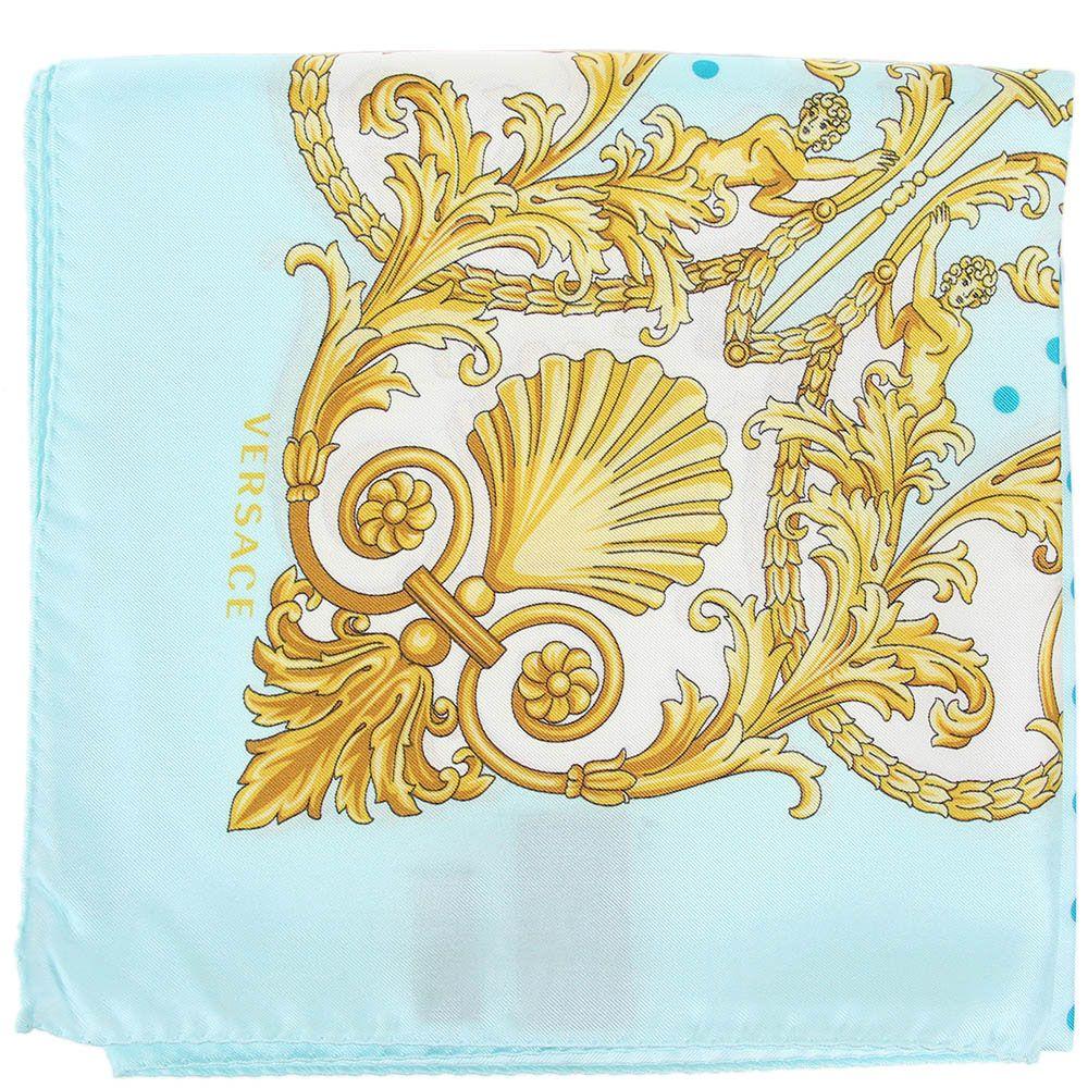 Платок Versace шелковый бирюзовый в мелкий голубой горох