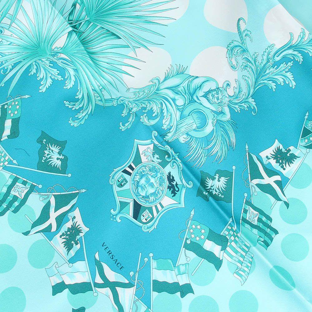 Нежно-голубой платок Versace из натурального шелка