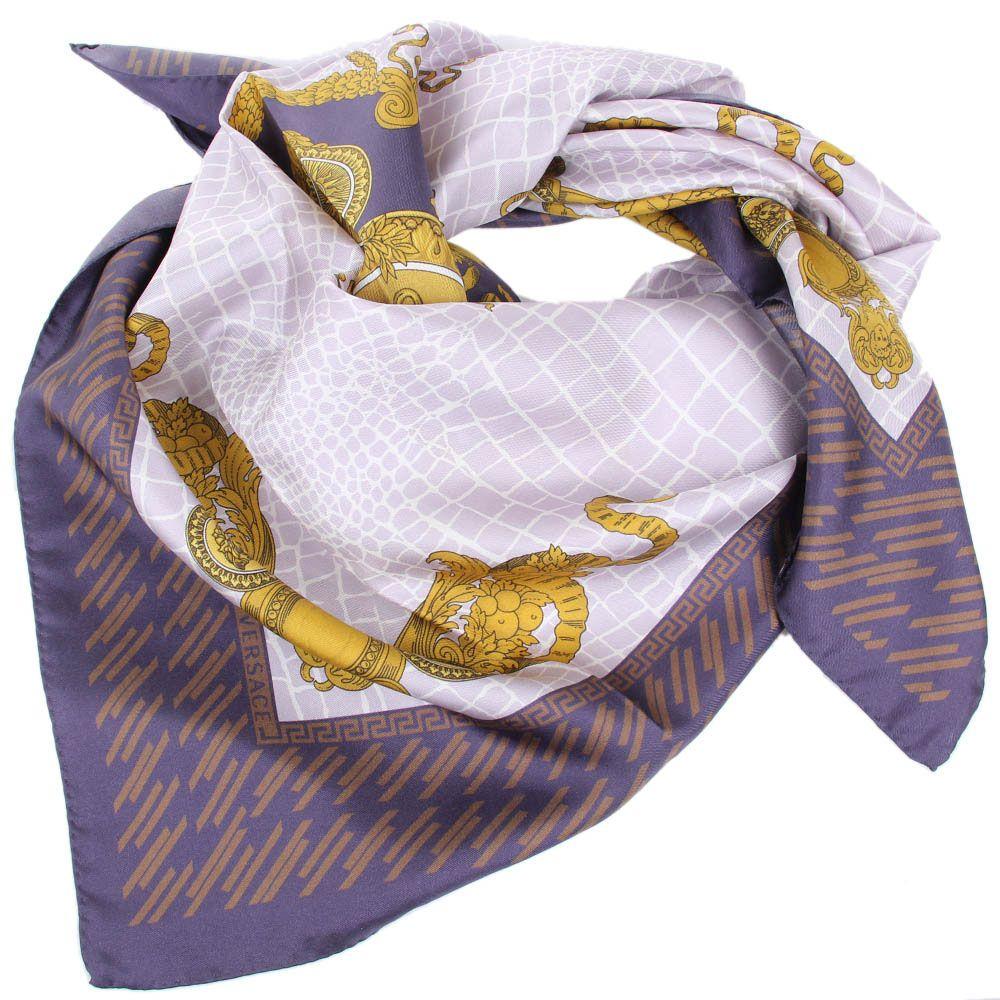 Шелковый платок Versace в дымчато-фиолетовых тонах