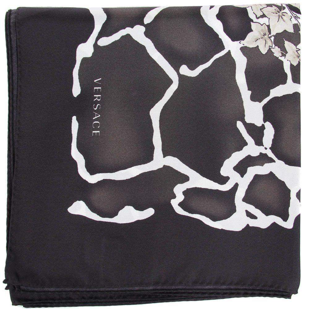 Женский платок Versace из натурального шелка черно-белый