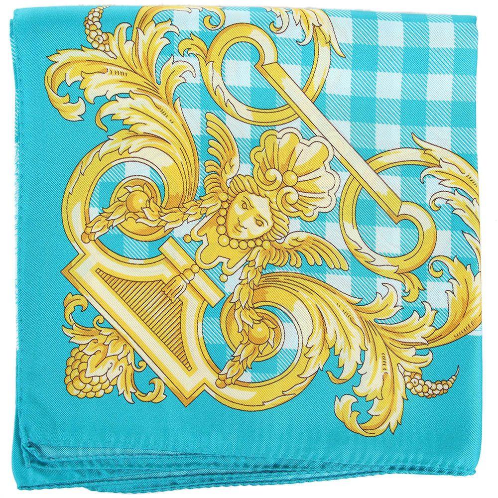Платок Versace из натурального шелка ярко-бирюзового цвета