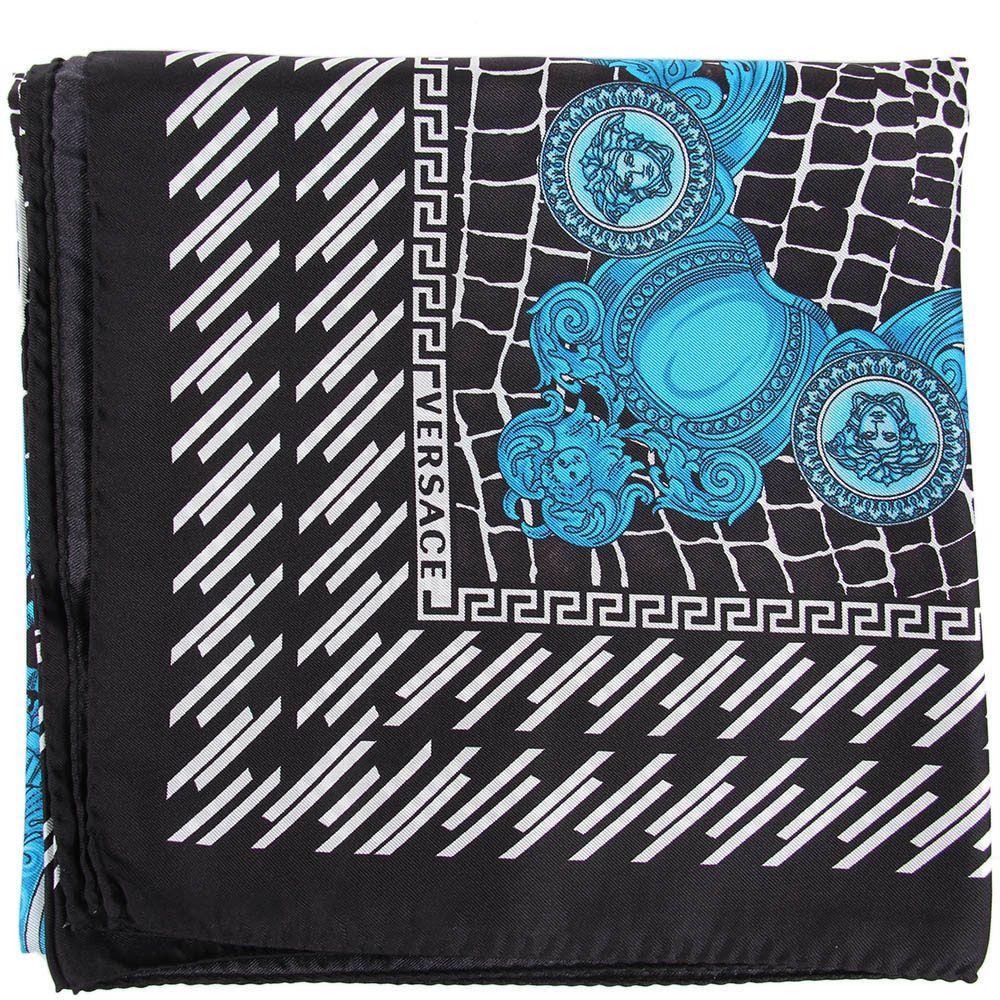 Шелковый платок Versace черно-белый с синим рисунком