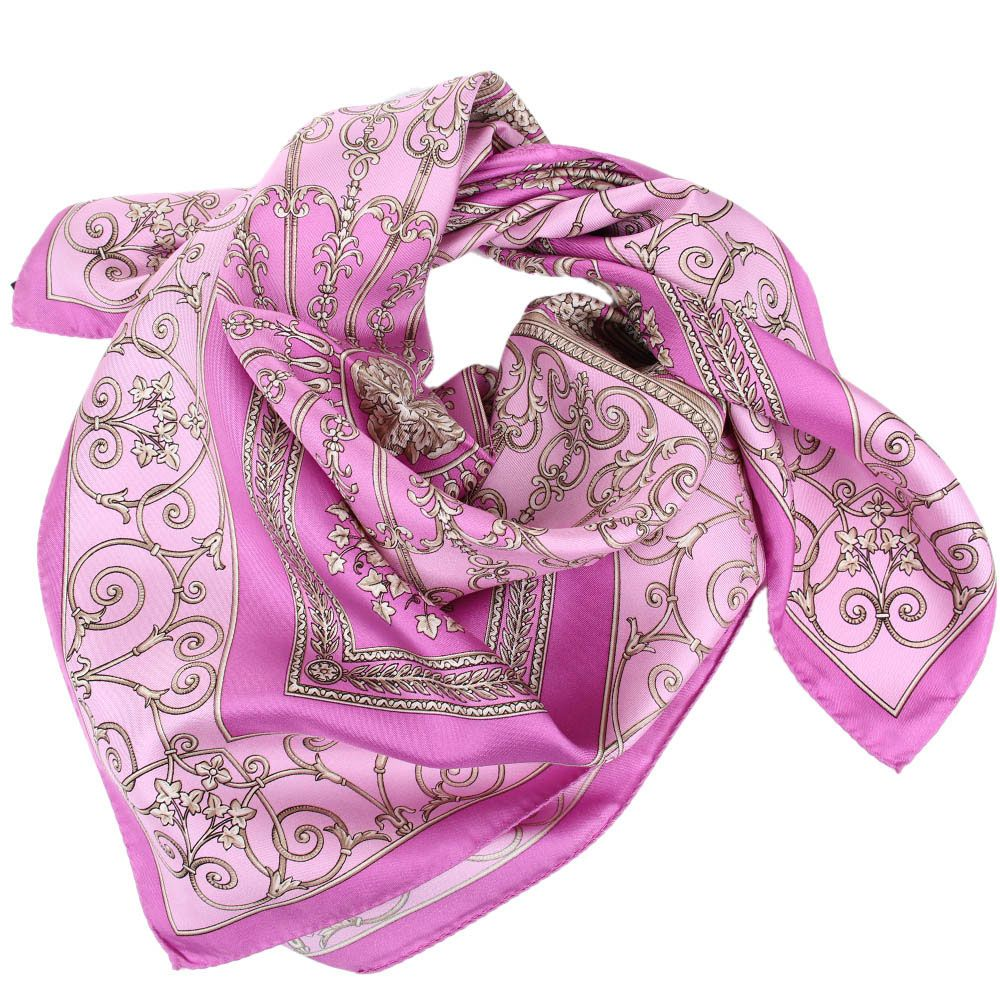 Шелковый платок Versace сиреневого цвета с нежно-розовым рисунком