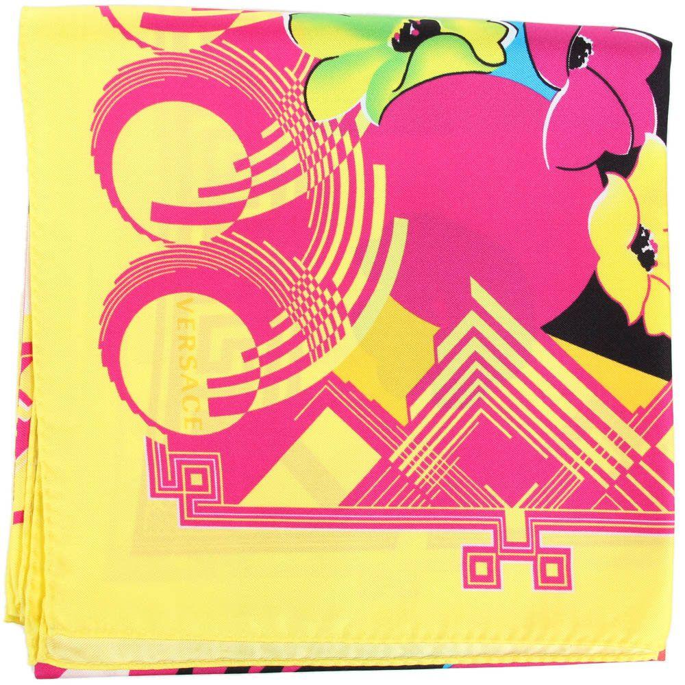 Желто-розовый платок Versace из натурального шелка
