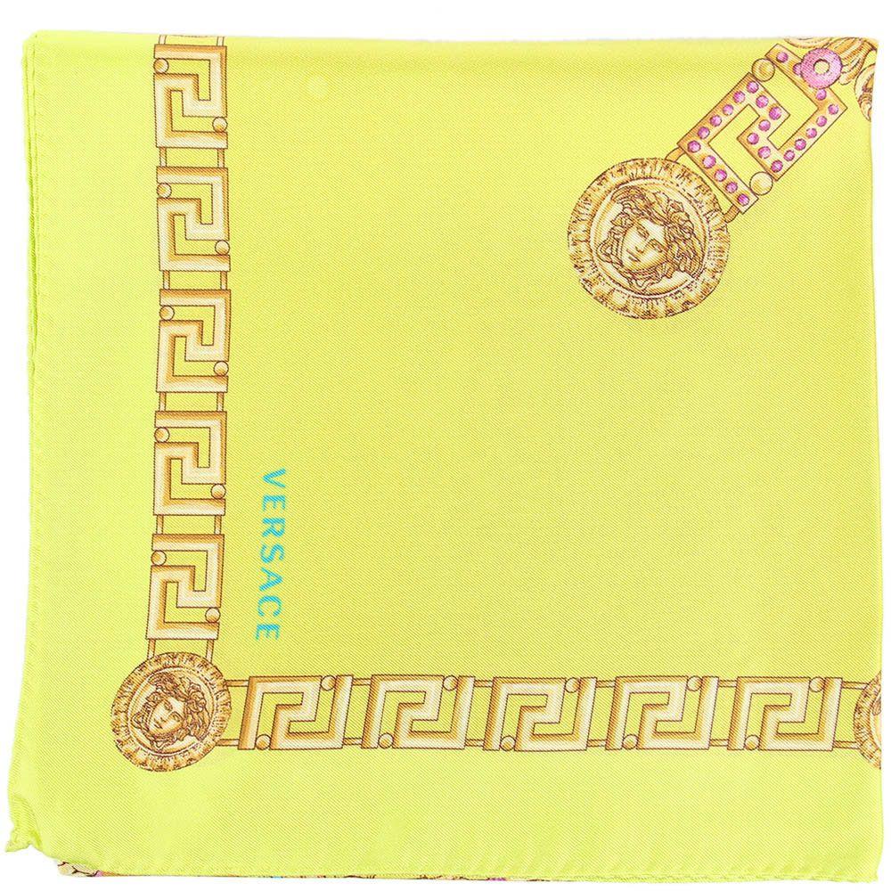 Шелковый платок Versace фисташкового цвета
