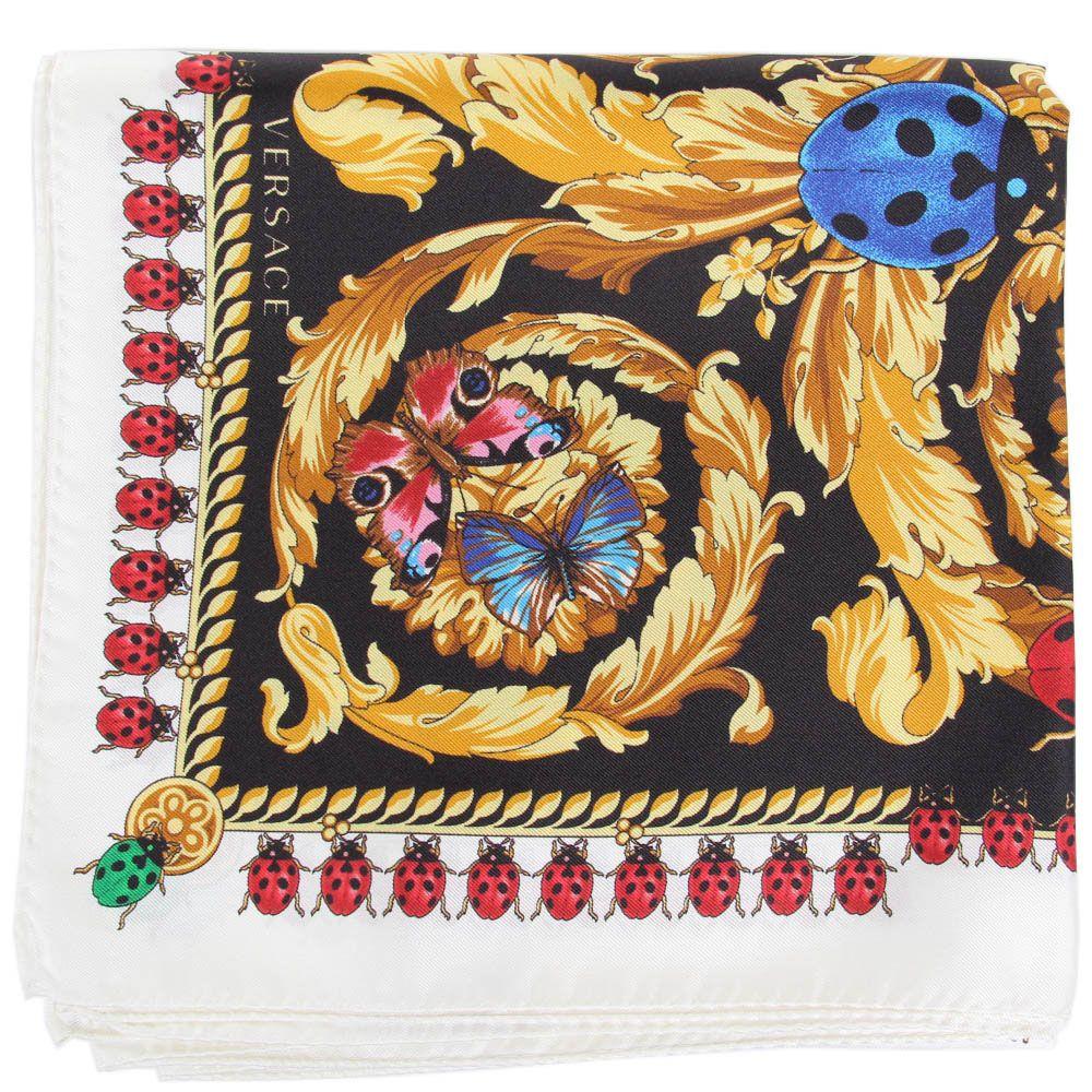 Черный платок Versace в разноцветные бабочки