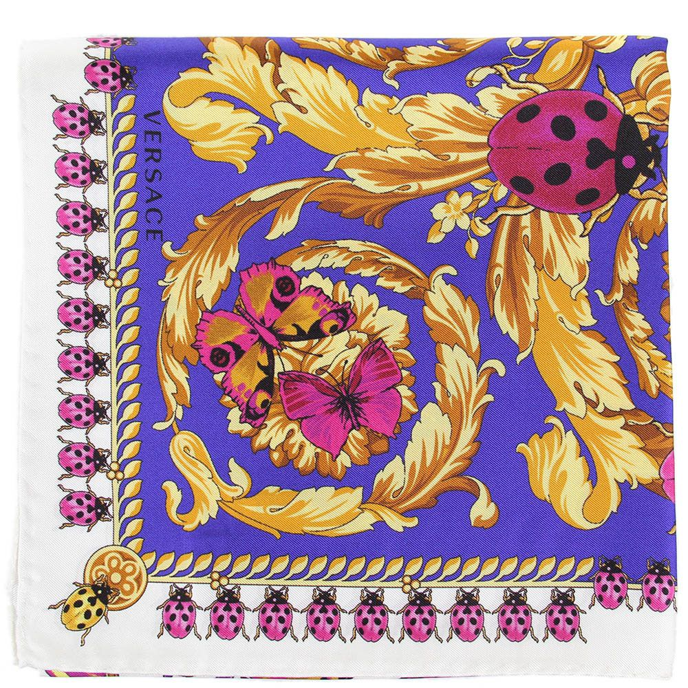 Платок Versace фиолетового цвета с разноцветными бабочками