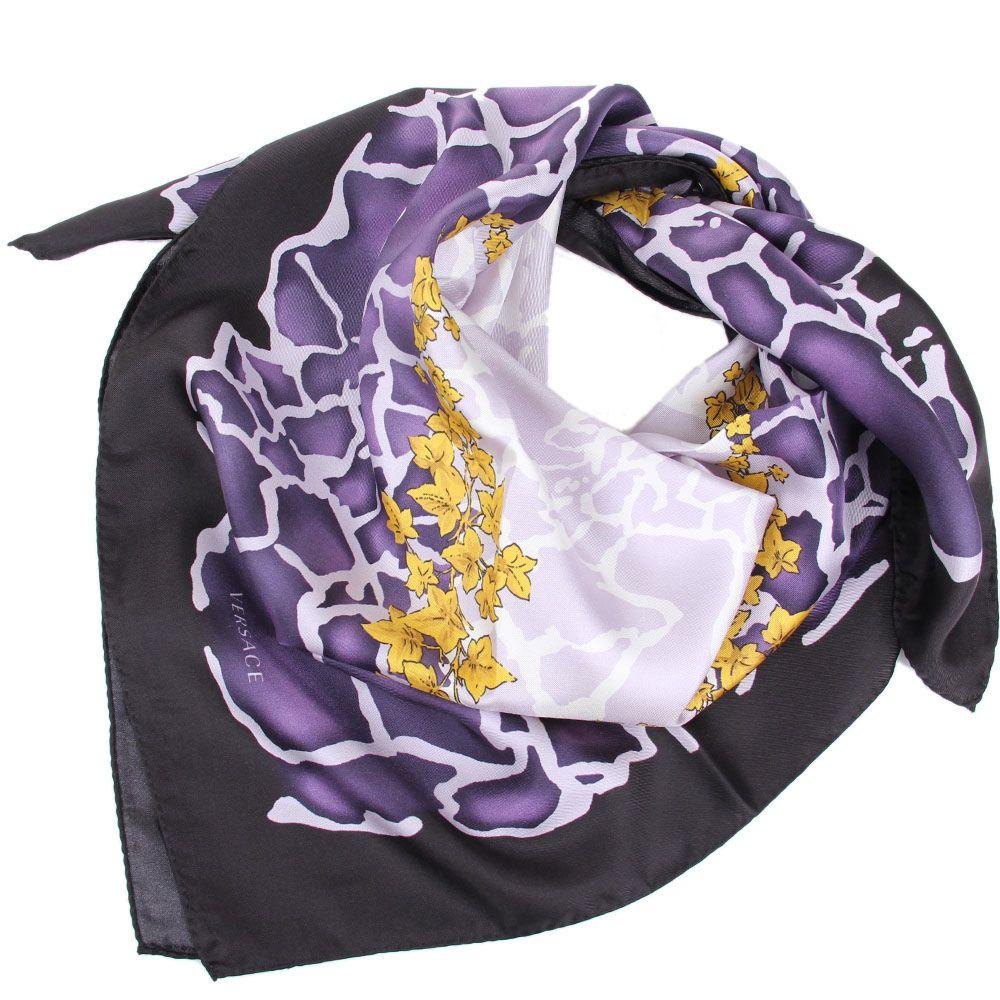 Шелковый платок Versace с фиолетовым рисунком