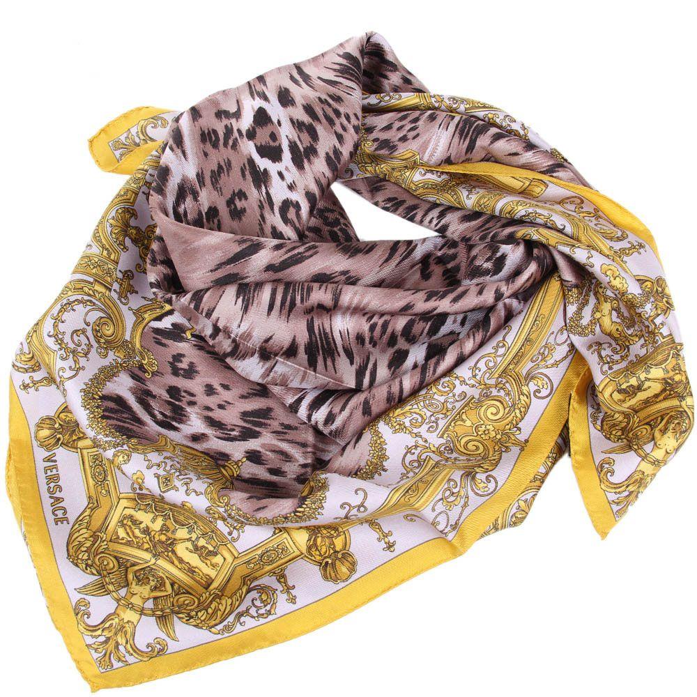 Шелковый платок Versace с леопардовым принтом