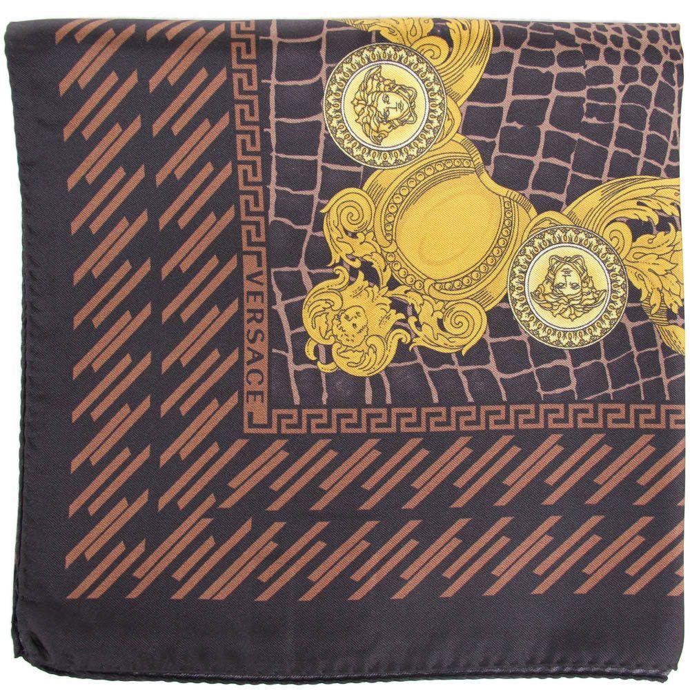 Темно-коричневый платок Versace с золотистыми рисунками