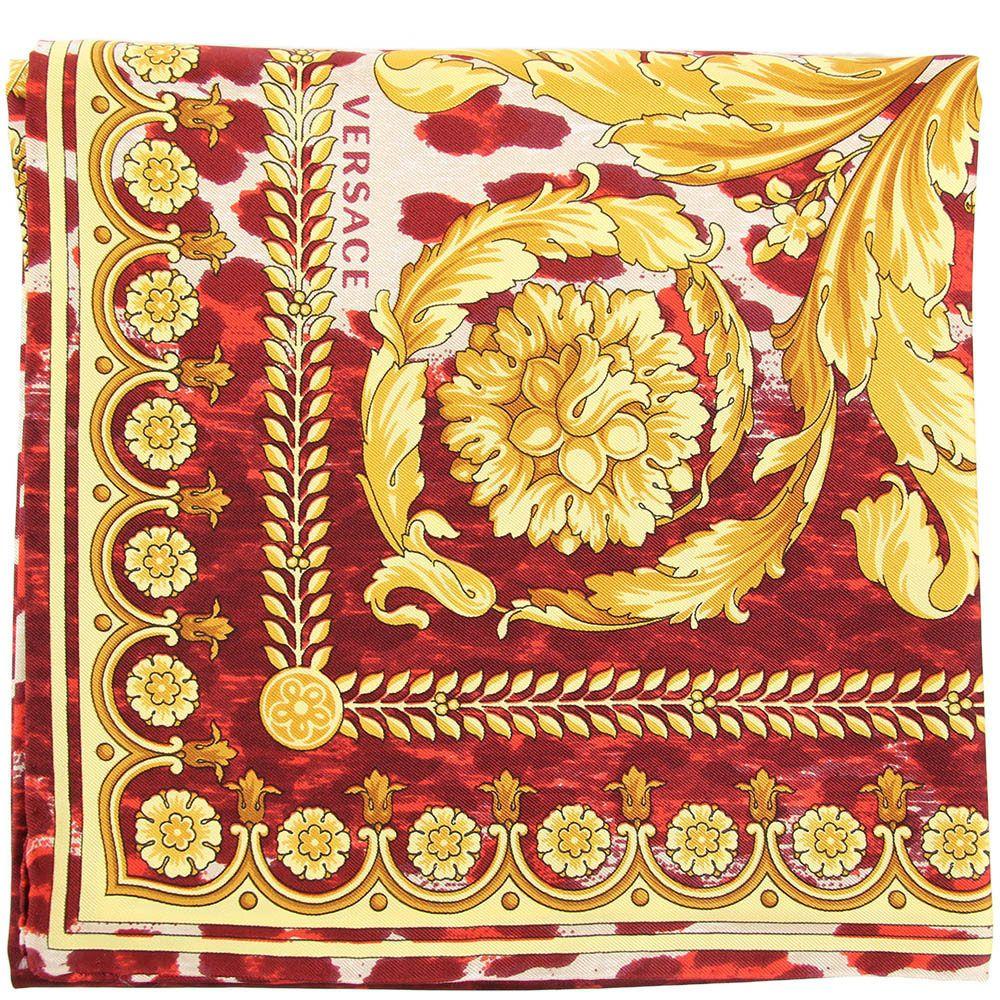 Шелковый платок Versace с анималистичным принтом бордового цвета