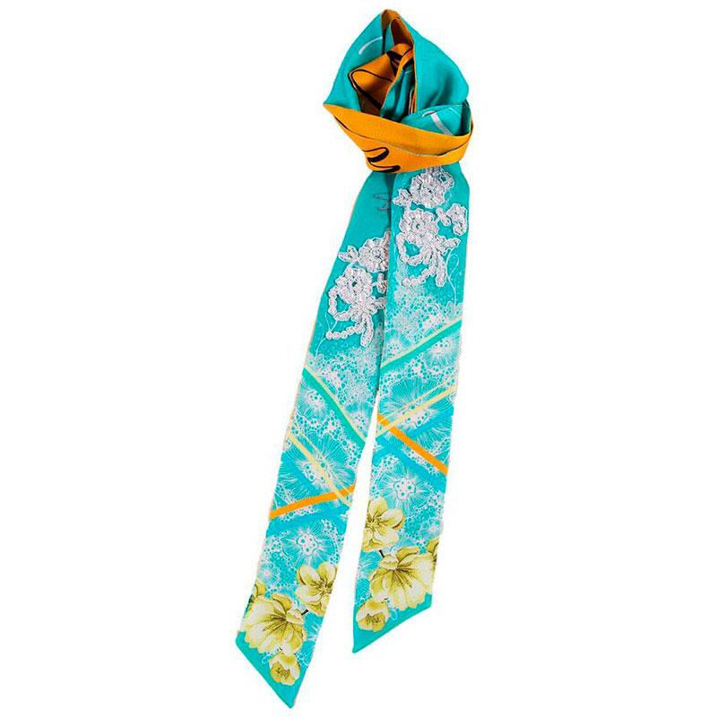 Узкий двухсторонний шарф D.OLYA by Olga Dvoryanskaya с цветочным принтом