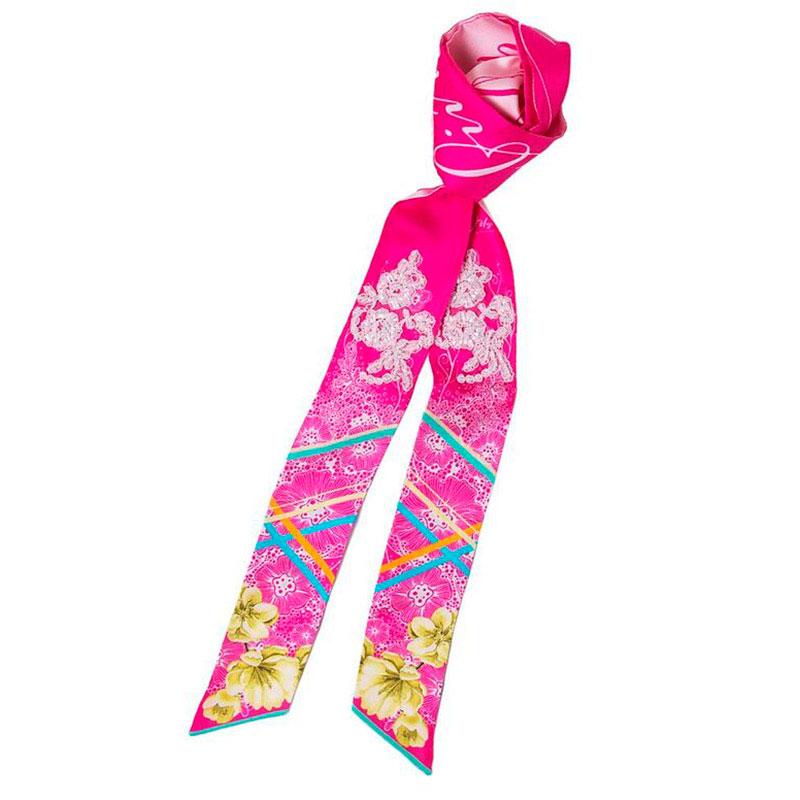 Узкий двухсторонний шарф D.OLYA by Olga Dvoryanskaya розового цвета с цветочным принтом