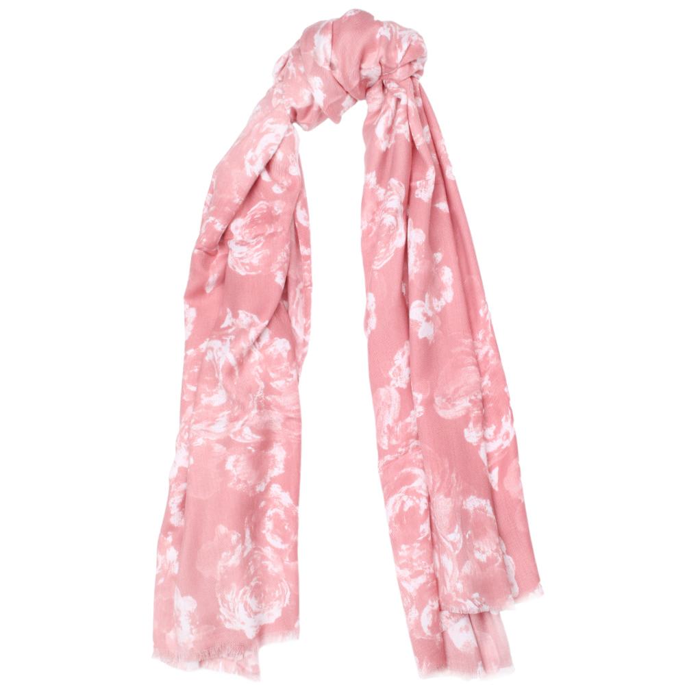 Палантин Fattorseta розового цвета с белыми цветами