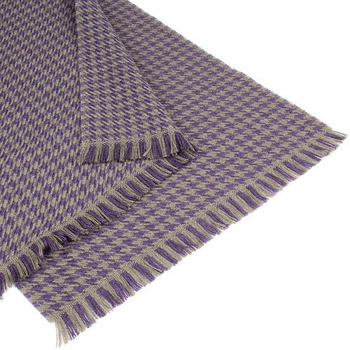 Шерстяной бежевый шарф Maalbi с фиолетовым узором, фото