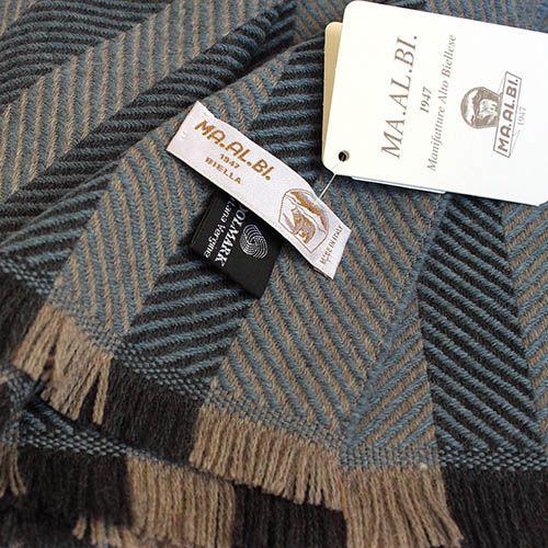 Шерстяной полосатый шарф Maalbi в серо-голубой с плетением ёлочкой, фото