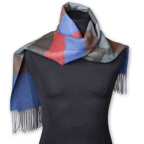 Шерстяной клетчатый шарф Maalbi с длинной бахромой, фото
