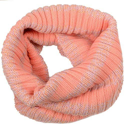 Теплый шарф-труба Sonia персиковый крупной вязки, фото