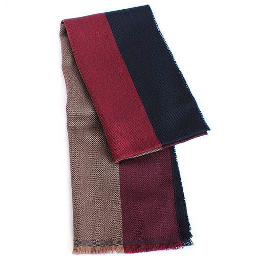 Полосатый шерстяной шарф Maalbi кораллово-красный с синим, фото