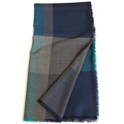 Шерстяная шаль Maalbi с пересекающимися бирюзовыми и серыми полосками, фото