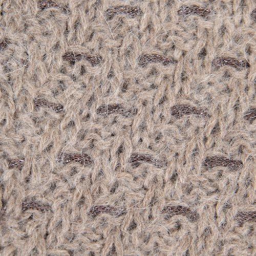 Шарф-хомут Le Camp вязаная светло-коричневая с вплетенной блестящей коричневой нитью, фото