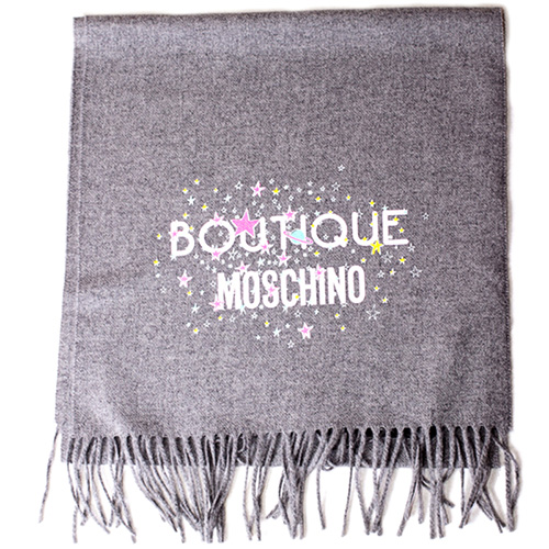 Шерстяной шарф Boutique Moschino светло-серого цвета, фото