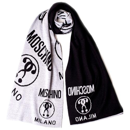 Двухцветный шарф Moschino черно-серой расцветки, фото
