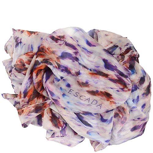 Шелковый шарф Escada с коричнево-пурпурным принтом, фото