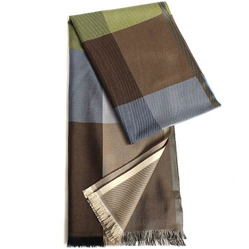 Палантин Maalbi из шерсти и шелка лаймово-коричнево-голубой, фото