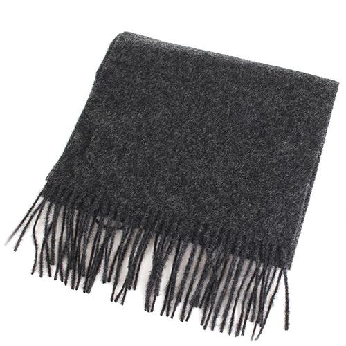 Серый палантин Maalbi из шерсти с бахромой, фото