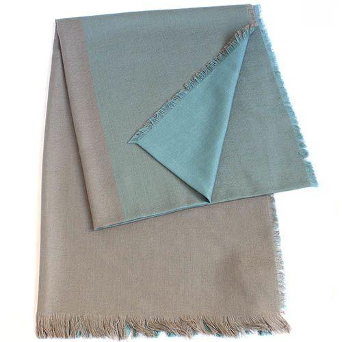 Шерстяной палантин Maalbi коричнево-голубой, фото