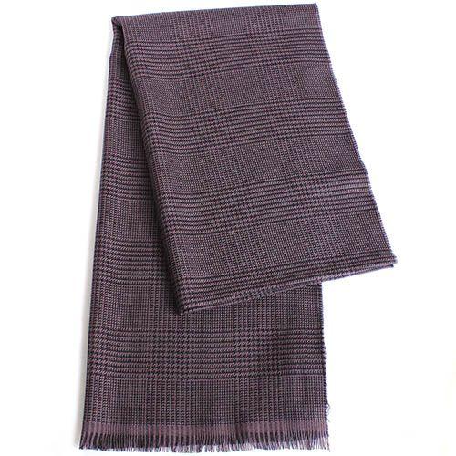 Клетчатый шерстяной палантин Maalbi сиренево-серого цвета, фото