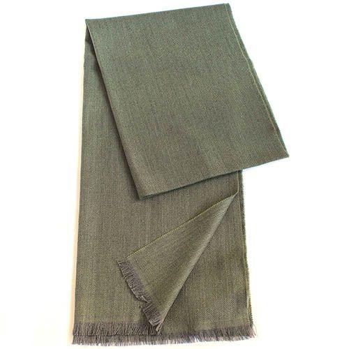 Палантин Maalbi пепельно-оливкового цвета с плетением елочкой, фото