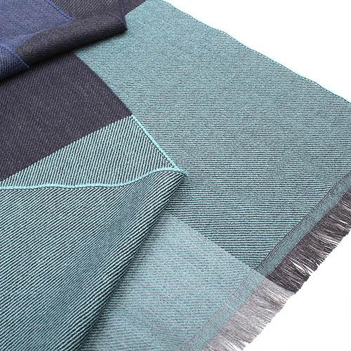 Шерстяной серый шарф Maalbi в синюю крупную клетку, фото