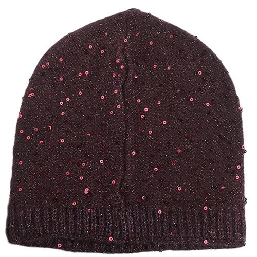 Бордовая женская шапка Vizio Collezione с пайетками, фото