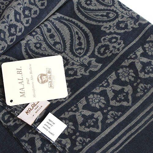 Шерстяной палантин Maalbi джинсового цвета с орнаментом, фото