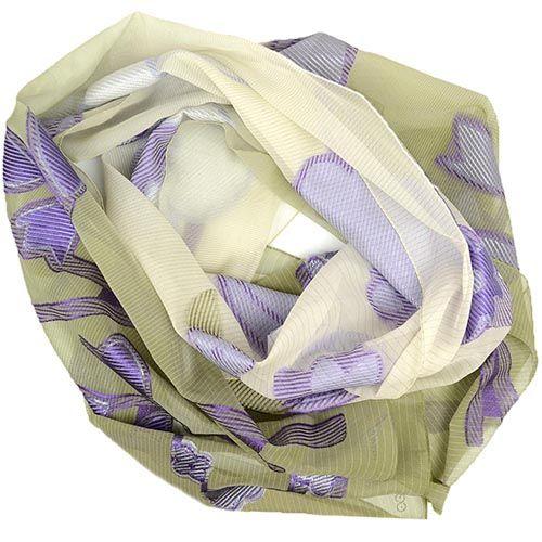 Шелковая шаль Escada Sport легкая тонкая оливковая с фиолетовыми цветами, фото