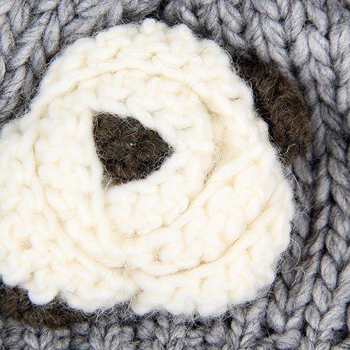 Шапка Le Camp вязаная серого цвета с белым цветком, фото