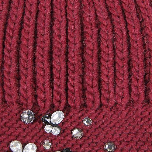 Шапка Le Camp вязаная бордового цвета с декором в виде страз, фото