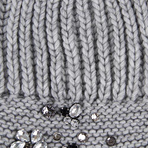 Шапка Le Camp вязаная серого цвета с декором в виде страз, фото