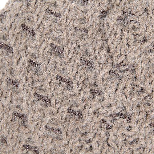 Шапка Le Camp вязаная светло-коричневая с вплетенной блестящей коричневой нитью, фото