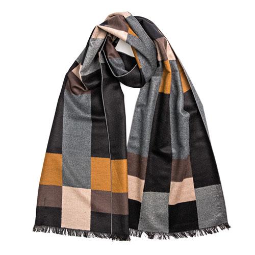 Шелковый мужской шарф Amo Accessori с геометрическим принтом, фото