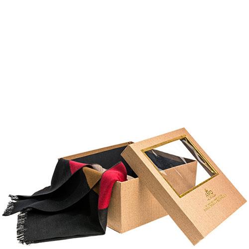 Полосатый шарф Amo Accessori коричневый с красным, фото