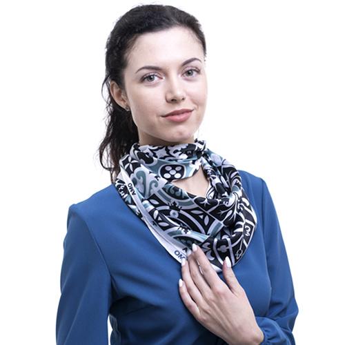 Шелковый платок Amo Accessori Majolica черно-белый, фото
