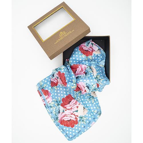 Голубой платок Amo Accessori Peonies с цветочным принтом, фото
